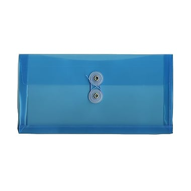 JAM Paper® #10 Plastic Envelopes with Button and String Tie Closure, 5 1/4 x 10, Blue Poly, 12/pack (921B1BU)