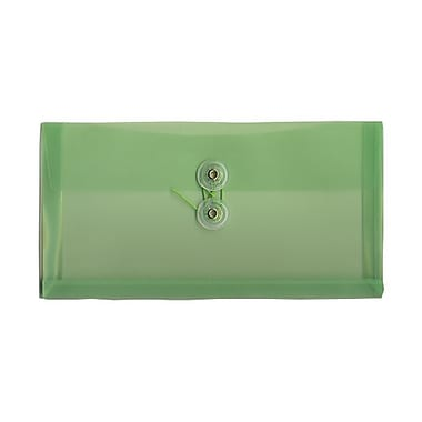 JAM Paper® #10 Plastic Envelopes with Button and String Tie Closure, 5.25 x 10, Green Poly, 24/Pack (921B1grg)