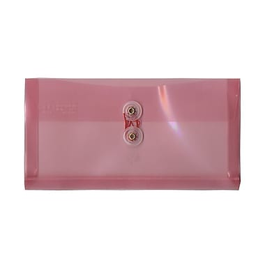 JAM Paper® #10 Plastic Envelopes with Button and String Tie Closure, 5 1/4 x 10, Pink Poly, 12/pack (921B1PI)