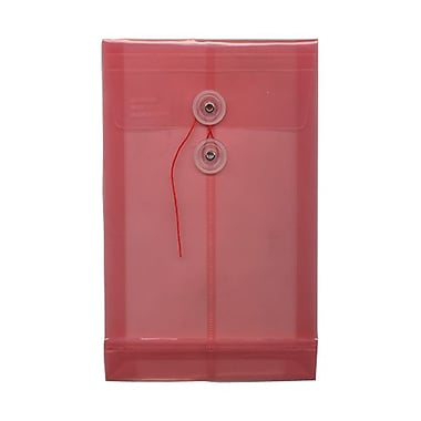 JAM Paper® Plastic Envelopes with Button and String Tie Closure, Open End, 6.25 x 9.25, Pink Poly, 12/Pack (472B1PI)