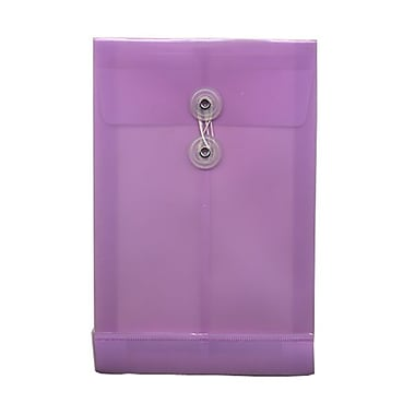 JAM Paper® Plastic Envelopes with Button and String Tie Closure, Open End, 6.25 x 9.25, Lilac Purple Poly, 12/pack (472B1LILAC)