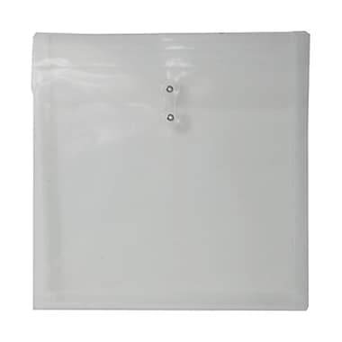 JAM Paper® Plastic Envelopes with Button and String Tie Closure, 13 x 13 square, Clear Poly, 12/Pack (1241705)