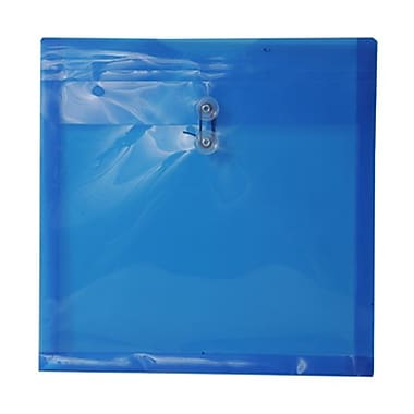 JAM Paper® Plastic Envelopes with Button and String Tie Closure, 13 x 13 square, Blue Poly, 12/Pack (1241709)