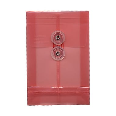JAM Paper® Plastic Envelopes with Button and String Tie Closure, Open End, 4.25 x 6.25, Pink Poly, 12/pack (473B1PI)