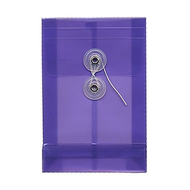 JAM Paper® Plastic Envelopes with Button and String Tie Closure, Open End, 4.25 x 6.25, Yellow Poly, 24/Pack (473B1yeg)