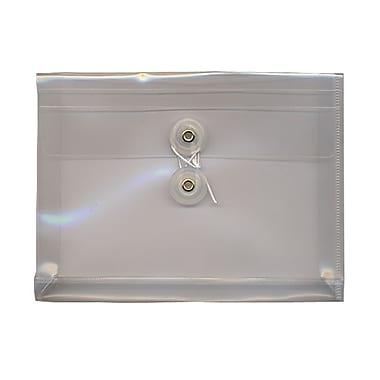 JAM PaperMD – Enveloppes en plastique avec index et fermeture à bouton et ficelle, 5 1/2 x 7 1/2 po, transparent, 24/paquet