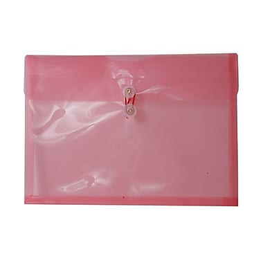 JAM Paper® Plastic Envelopes with Button and String Tie Closure, Legal Booklet, 9.75 x 14.5, Pink Poly, 12/pack (219B1PI)