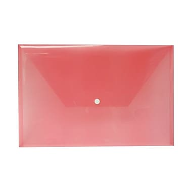 JAM Paper® Plastic Envelopes with Snap Closure, Legal Booklet, 9.75 x 14.5, Red Poly, 12/Pack (34830RE)