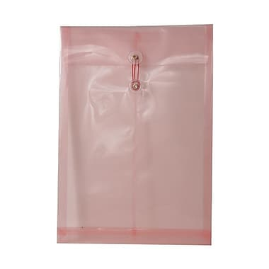 JAM Paper® Plastic Envelopes with Button and String Tie Closure, Legal Open End, 9.75 x 14.5, Pink Poly, 12/Pack (119B1PI)