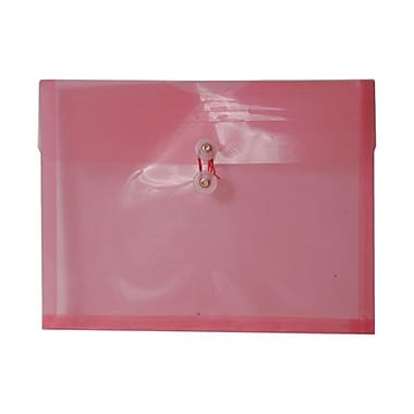 JAM Paper® Plastic Envelopes with Button and String Tie Closure, Letter Booklet, 9.75 x 13, Pink Poly, 12/Pack (218B1PI)