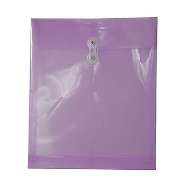 JAM Paper® Plastic Envelopes, Button String Tie Closure, Letter Open End, 9.75 x 11.75, Lilac Purple Poly, 12/Pack (118b1lilac)