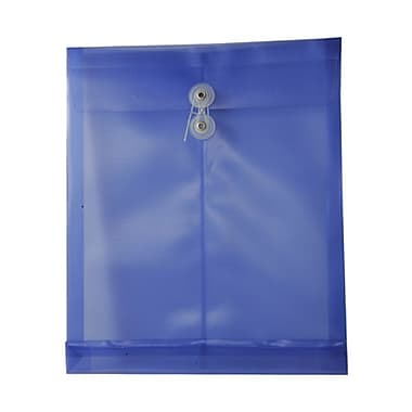 JAM Paper® Plastic Envelopes, Button and String Tie Closure, Letter Open End, 9.75 x 11.75, Purple Poly, 12/pack (1221555)