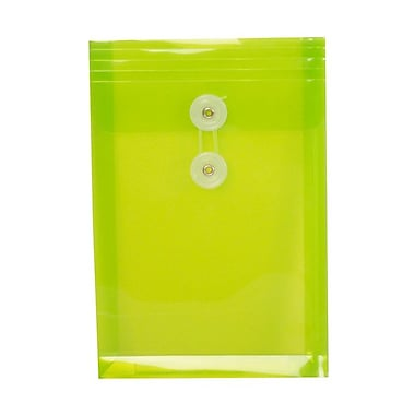 JAM Paper® Plastic Envelopes with Button and String Tie Closure, Open End, 6.25 x 9.25, Lime Green Poly, 1080/Pack (472B1LIC)