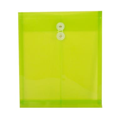 JAM Paper® Plastic Envelopes, Button and String Tie Closure, Letter Open End, 9.75 x 11.75, Lime Green Poly, 12/Pack (118B1LI)