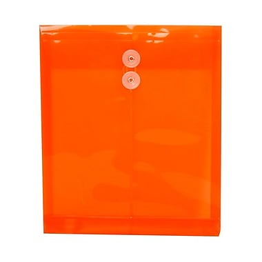 JAM Paper® Plastic Envelopes with Button and String Tie Closure, Letter Open End, 9.75 x 11.75, Orange Poly, 12/Pack (118B1OR)