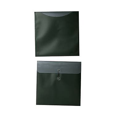 JAM Paper® Plastic Envelopes with Button and String Tie Closure, 13 x 13 square, Metallic Dark Green Poly, 12/Pack (15855)