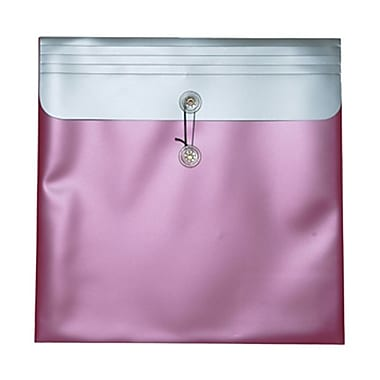 JAM Paper® Plastic Envelopes with Button and String Tie Closure, 13 x 13 square, Metallic Pink Poly, 12/Pack (15852)