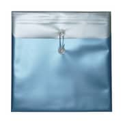 "JAM Paper® Metallic button and string plastic envelope in blue color sized 13"" x 13"""