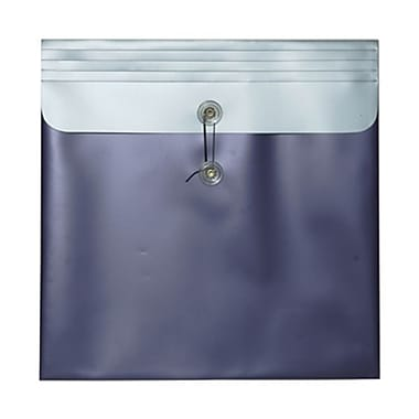 JAM Paper® Plastic Envelopes with Button and String Tie Closure, 13 x 13 square, Metallic Purple Poly, 12/pack (15854)
