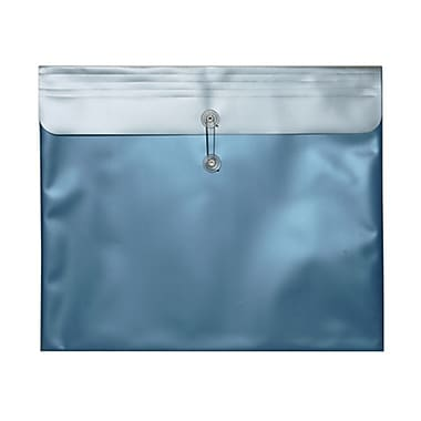 JAM Paper® Plastic Envelopes with Button and String Tie Closure, 15 x 18, Metallic Blue Poly, 12/pack (15881)