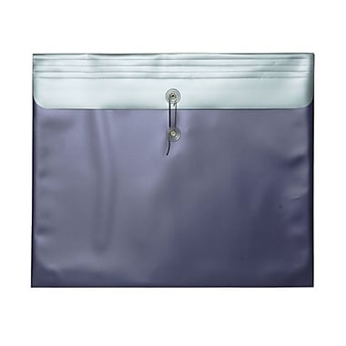 JAM Paper® Plastic Envelopes with Button and String Tie Closure, 15 x 18, Metallic Purple Poly, 12/pack (15885)