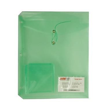 JAM Paper® 9 3/4in.x 11 3/4in. Button & String Binder Envelopes w/Small Pocket, Green, 12/Pack
