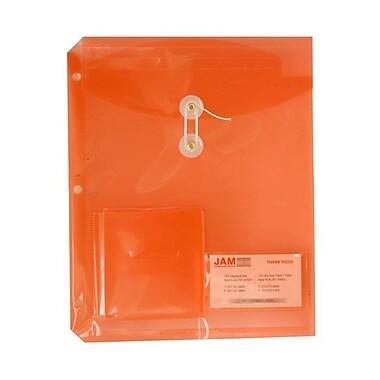 JAM Paper® 9 3/4in.x 11 3/4in. Button & String Binder Envelopes w/Small Pocket, Orange, 12/Pack