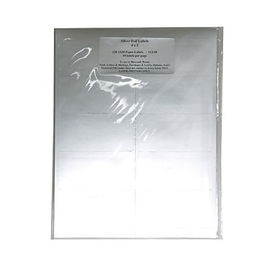 JAM Paper® 4in. x 2in. Address Labels, Silver, 10/Page, 120/Pack