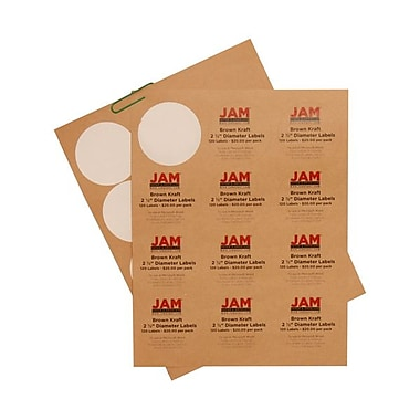 JAM Paper® 2 1/2in. Kraft Circle Label Sticker Seals, Brown, 120/Pack