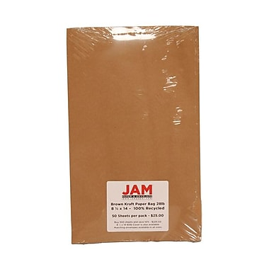 JAM Paper® 8 1/2in. x 14in. Kraft Paper Bag Recycled Paper, Brown, 50/Pack