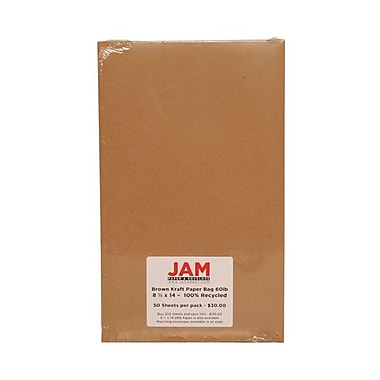 JAM Paper® 8 1/2in. x 14in. Kraft Paper Bag Recycled Cardstock, Brown, 250/Ream