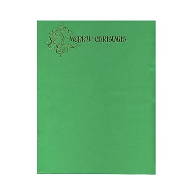 JAM Paper® 8 1/2in. x 11in. Embossed Merry Christmas Paper, Green, 100 Sheets/Pack