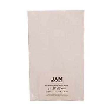 JAM Paper® 8 1/2in. x 14in. Strathmore Wove Paper, Bright White, 100 Sheets/Pack