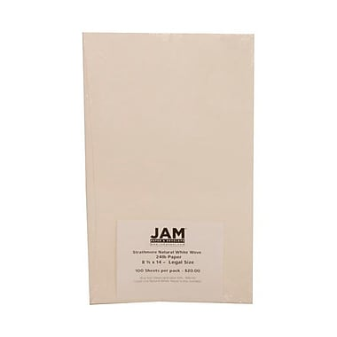 JAM Paper® 24 lb. 8 1/2in. x 14in. Strathmore Legal Paper, Natural White, 100 Sheets/Pack