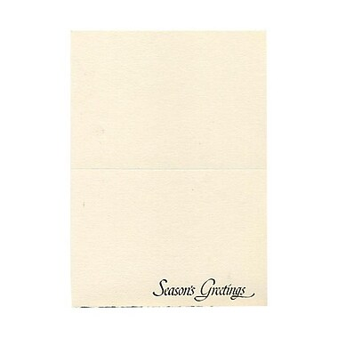 JAM Paper® 5in. x 7in. 100 lbs. Seasons Greetings Foldover Cards, Ivory w/Green Deckled Edge, 50/Pack