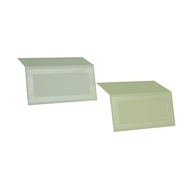 JAM Paper® Foldover Placecards, 2 x 4.5, 80lb White Pearl Border place cards, 25/pack (318015297)