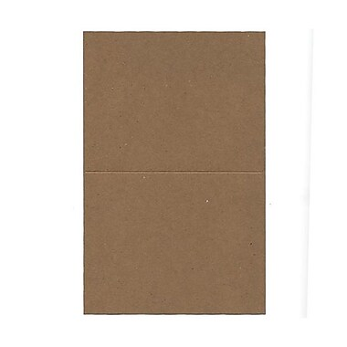 JAM Paper® Blank Foldover Cards, A2 size, 4.38 x 5 7/16, 60lb Brown Kraft Paper Bag Recycled, 50/Pack (530910828g)