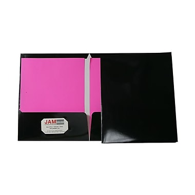 JAM Paper® 9 1/4in. x 11 1/2in. Two Pocket Glossy Folder, Black,6/Pack
