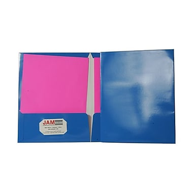 JAM Paper® 9 1/4in. x 11 1/2in. Two Pocket Glossy Folder, Blue,6/Pack