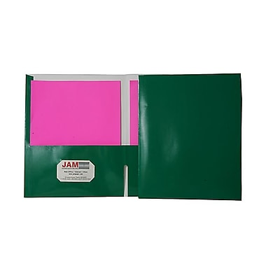 Jam® 9 1/4in. x 11 1/2in. Two Pocket Glossy Folder, Green