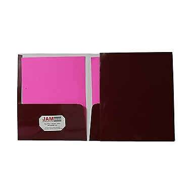 Jam® 9 1/4in. x 11 1/2in. Two Pocket Glossy Folder, Maroon