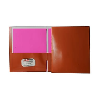 JAM Paper® 9 1/4in. x 11 1/2in. Two Pocket Glossy Folder, Metallic Copper ,6/Pack