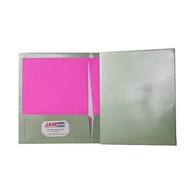 Jam® 9 1/4in. x 11 1/2in. Two Pocket Glossy Folder, Metallic Leaf Green, 100/Box