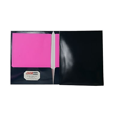 JAM Paper® 9 1/4in. x 11 1/2in. Two Pocket Glossy Folder, Navy,6/Pack