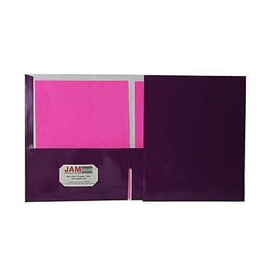JAM Paper® 9 1/4in. x 11 1/2in. Two Pocket Glossy Folder, Purple,6/Pack