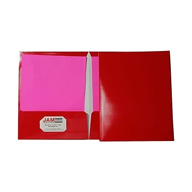 Jam® 9 1/4in. x 11 1/2in. Two Pocket Glossy Folder, Red, 100/Box