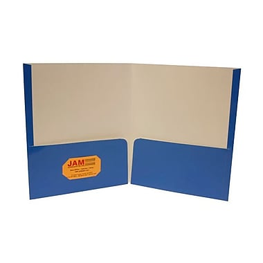 Jam® 9 1/4in. x 11 1/2in. Two Pocket Glossy Folder, Royal Blue
