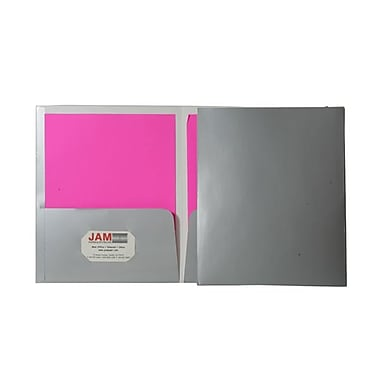 JAM Paper® 9 1/4in. x 11 1/2in. Two Pocket Glossy Folder, Silver,6/Pack