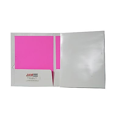 JAM Paper® 9 1/4in. x 11 1/2in. Two Pocket Glossy Folder, White,6/Pack