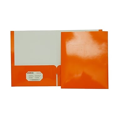 JAM Paper® 9 1/4in. x 11 1/2in. Two Pocket Glossy Folder, Orange,6/Pack